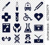 medicine icons set. set of 16... | Shutterstock .eps vector #627502979