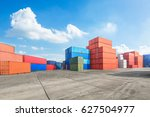 industrial port container... | Shutterstock . vector #627504977