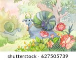 watercolor illustration with...   Shutterstock . vector #627505739