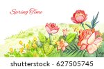 spring watercolor footer. red...   Shutterstock . vector #627505745