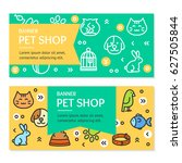 Stock vector pet shop flyer banner placard horizontal set witch outline icons accessories and equipment for dog 627505844
