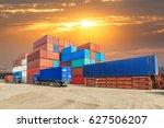industrial port container...   Shutterstock . vector #627506207
