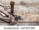 tools for cutting beard... | Shutterstock . vector #627507284