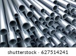 stack of new shiny pipes. 3d... | Shutterstock . vector #627514241