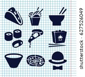 set of 9 cuisine filled icons... | Shutterstock .eps vector #627526049