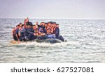 the refugees migrate to europe. ...   Shutterstock . vector #627527081
