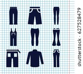set of 9 jeans filled icons... | Shutterstock .eps vector #627528479