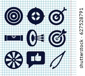 set of 9 accuracy filled icons... | Shutterstock .eps vector #627528791