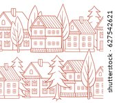 country houses. seamless vector ... | Shutterstock .eps vector #627542621