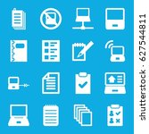 notebook icons set. set of 16... | Shutterstock .eps vector #627544811