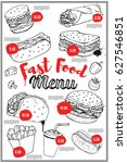 fast food menu cover layout... | Shutterstock .eps vector #627546851