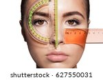 the woman's face is measured...   Shutterstock . vector #627550031