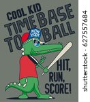crocodile baseball player... | Shutterstock .eps vector #627557684