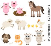 set of different farm animals | Shutterstock .eps vector #627558041