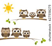 brown owls and owlets on the... | Shutterstock .eps vector #627558275