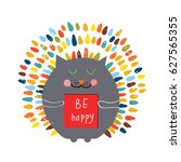 happy card with funny cat  ... | Shutterstock .eps vector #627565355