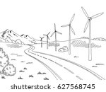 windmills road graphic black... | Shutterstock .eps vector #627568745