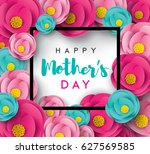 happy mother's day calligraphy... | Shutterstock .eps vector #627569585