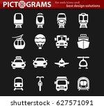 public transport icon set for... | Shutterstock .eps vector #627571091