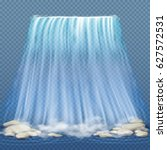 realistic waterfall with blue... | Shutterstock .eps vector #627572531