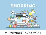 shopping concept illustration... | Shutterstock . vector #627579344