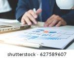 business team meeting working... | Shutterstock . vector #627589607