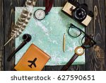 time to travel concept  hipster ... | Shutterstock . vector #627590651