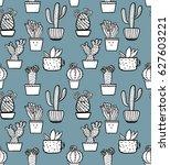 vector doodle cactus seamless...   Shutterstock .eps vector #627603221