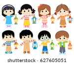 set of muslim boys and girls... | Shutterstock .eps vector #627605051