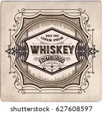 hand drawn whiskey label | Shutterstock .eps vector #627608597