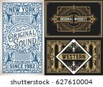 vintage cards set | Shutterstock .eps vector #627610004