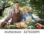 happy farmers ready to sell... | Shutterstock . vector #627610694