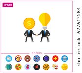 business man brainstorming icon   Shutterstock .eps vector #627612584