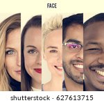set of diversity people happy... | Shutterstock . vector #627613715