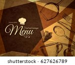 restaurant menu design. vector... | Shutterstock .eps vector #627626789