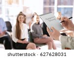 business trainer holding... | Shutterstock . vector #627628031