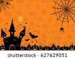 halloween night background with ... | Shutterstock .eps vector #627629051