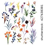 set with hand drawn watercolor... | Shutterstock . vector #627638381