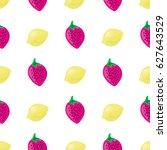 strawberries and lemons fruit... | Shutterstock .eps vector #627643529