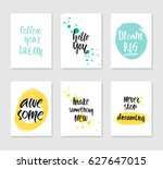 set of 6 cute creative cards... | Shutterstock .eps vector #627647015