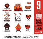 barbecue icons | Shutterstock .eps vector #627648599