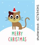 cute kitten merry christmas... | Shutterstock .eps vector #627654341