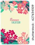 pink plumeria  frangipani ...   Shutterstock .eps vector #627654509