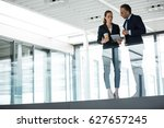business colleagues interacting ... | Shutterstock . vector #627657245