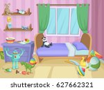 room for kids with funny toys... | Shutterstock .eps vector #627662321