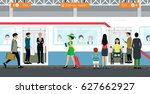 city people are waiting for the ... | Shutterstock .eps vector #627662927