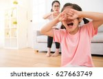 the sad little children girl... | Shutterstock . vector #627663749