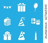 birthday icons set. set of 9... | Shutterstock .eps vector #627665345