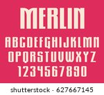 geometric gothic font retro... | Shutterstock .eps vector #627667145