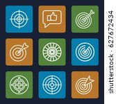 dartboard icons set. set of 9... | Shutterstock .eps vector #627672434